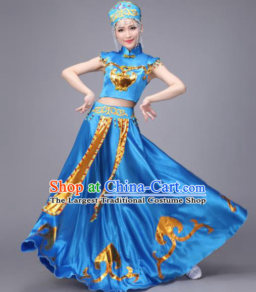 Chinese Traditional Mongol Nationality Dance Costume Mongolian Folk Dance Ethnic Blue Dress for Women