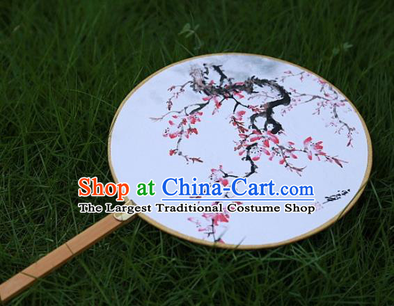 Chinese Ancient Palace Fans Handmade Printing Peach Blossom Round Fans for Women