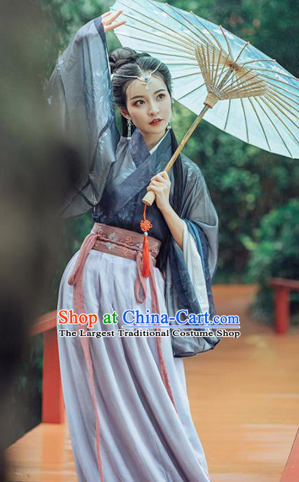 Chinese Ancient Embroidered Costumes Traditional Jin Dynasty Princess Hanfu Dress for Women