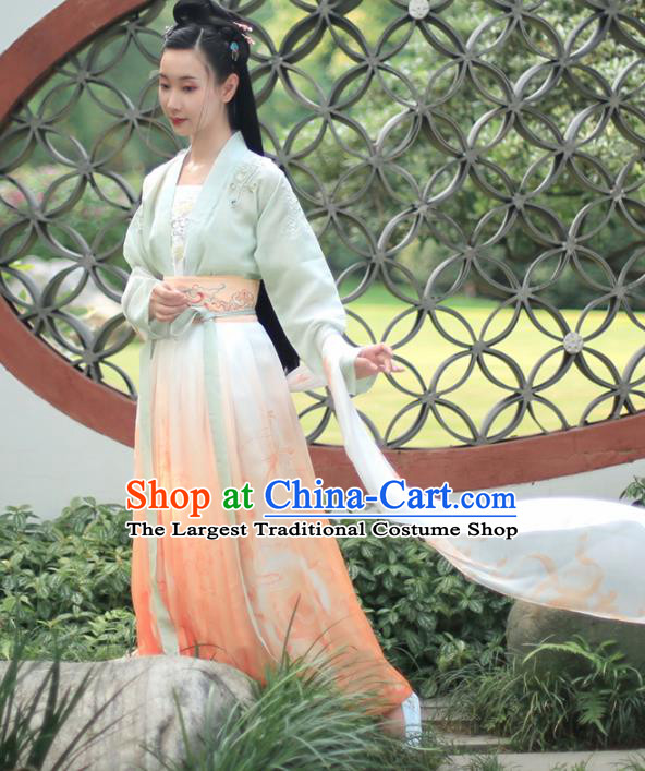 Chinese Ancient Embroidered Costumes Traditional Tang Dynasty Princess Hanfu Dress for Women