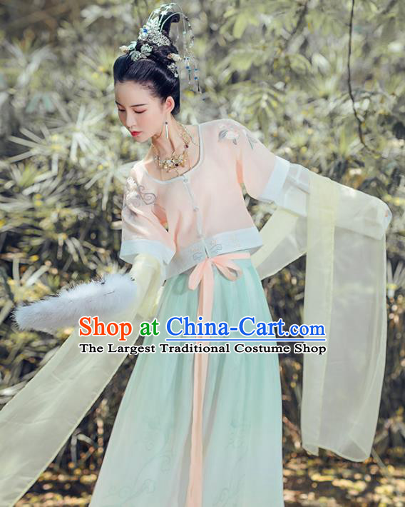 Chinese Ancient Apsara Embroidered Costumes Traditional Tang Dynasty Princess Hanfu Dress for Women