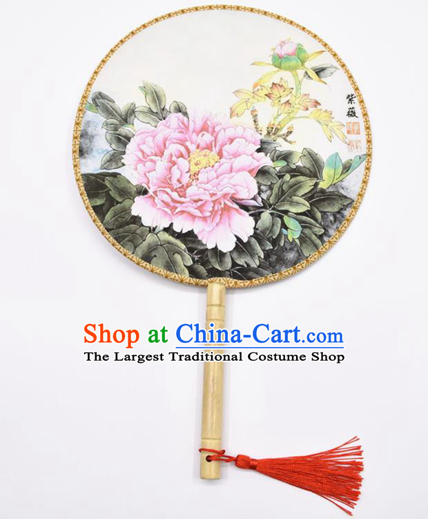 Chinese Ancient Palace Fans Handmade Ink Painting Peony Round Fans for Women