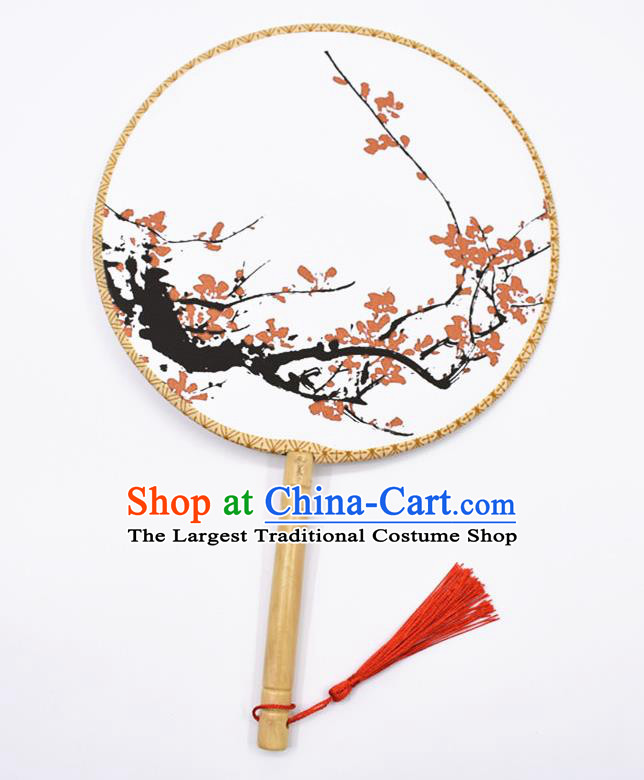 Chinese Ancient Palace Fans Handmade Printing Hanfu Round Fans for Women