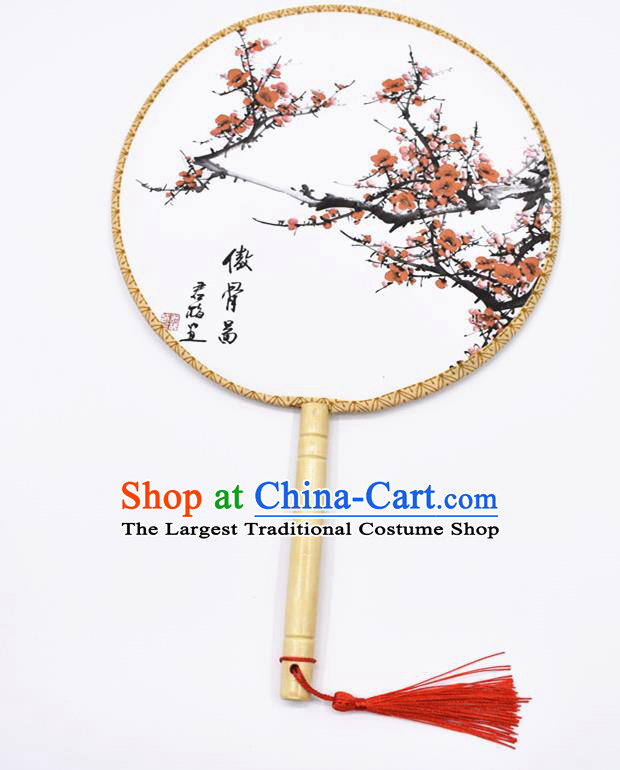 Chinese Ancient Palace Fans Handmade Hanfu Printing Round Fans for Women