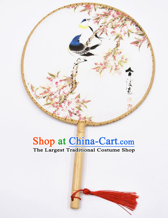 Chinese Ancient Palace Fans Handmade Traditional Printing Birds Silk Round Fans for Women