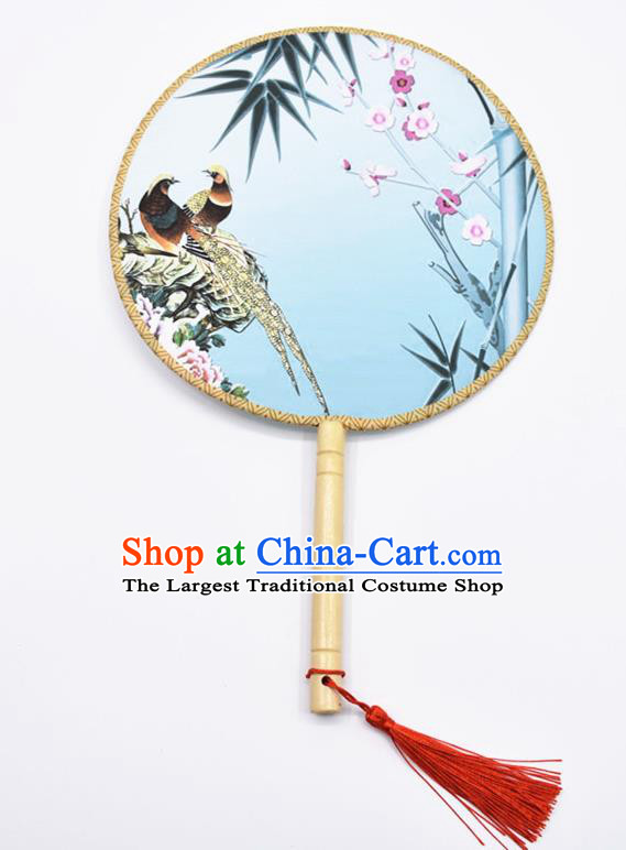 Chinese Ancient Palace Fans Handmade Traditional Printing Birds Blue Silk Round Fans for Women