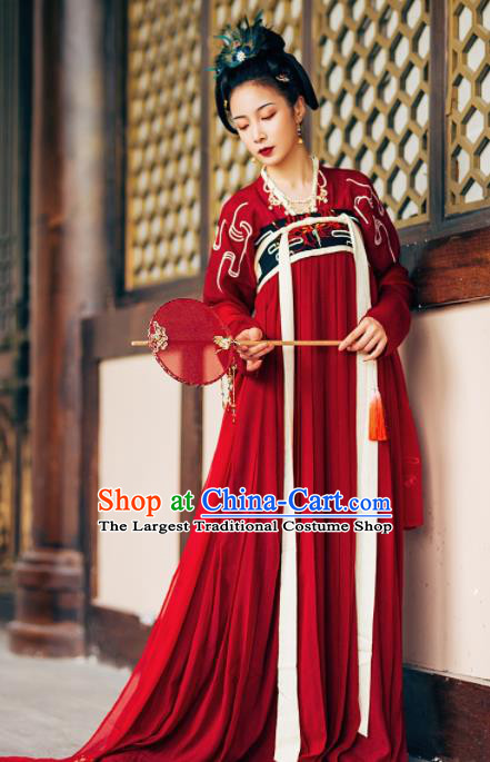 Chinese Ancient Maidenform Costumes Tang Dynasty Princess Embroidered Red Hanfu Dress for Women
