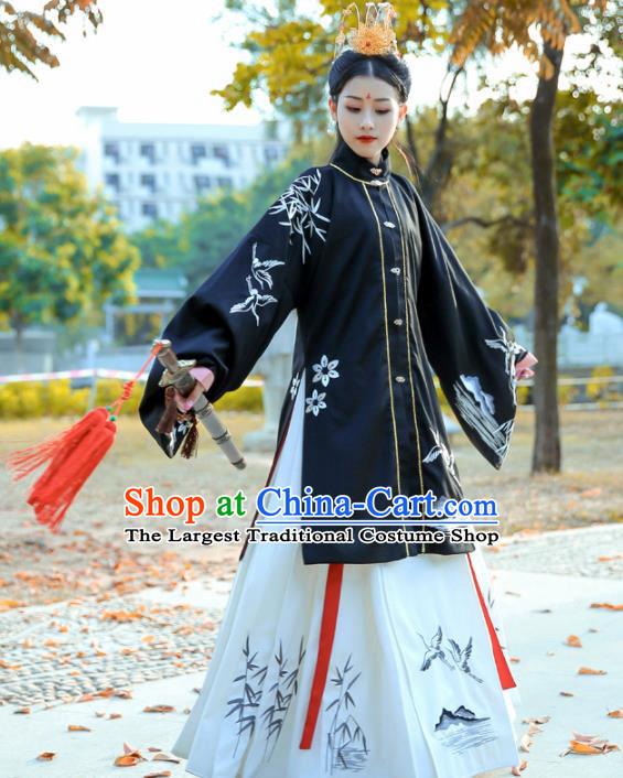 Chinese Ancient Maidenform Costumes Ming Dynasty Princess Embroidered Cloak and White Skirt for Women