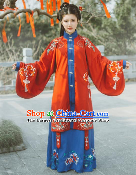 Chinese Ancient Ming Dynasty Princess Costumes Embroidered Hanfu Dress for Women