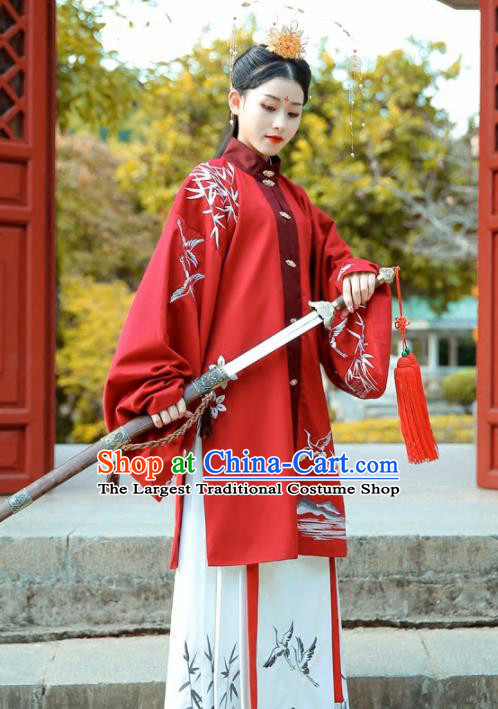 Chinese Ancient Ming Dynasty Swordswoman Costumes Embroidered Red Hanfu Dress for Women