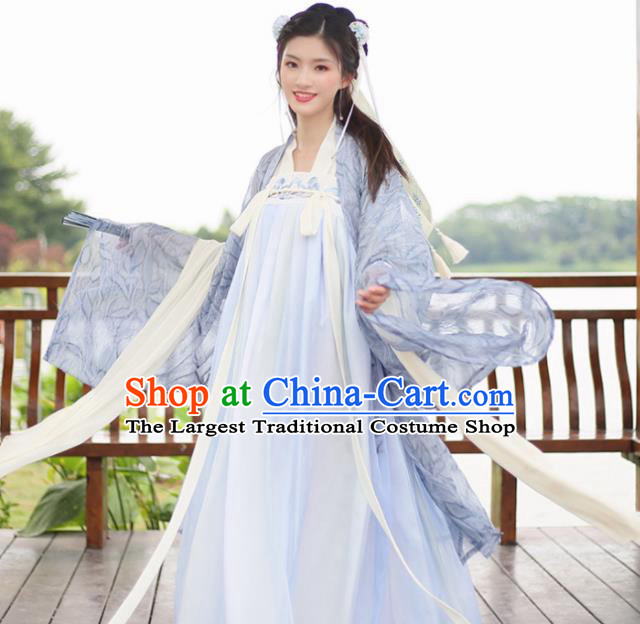 Chinese Tang Dynasty Costumes Ancient Imperial Concubine Embroidered Hanfu Dress for Women