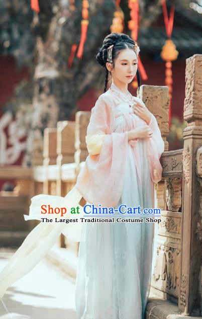 Traditional Chinese Tang Dynasty Nobility Lady Costumes Ancient Peri Goddess Embroidered Hanfu Dress for Rich