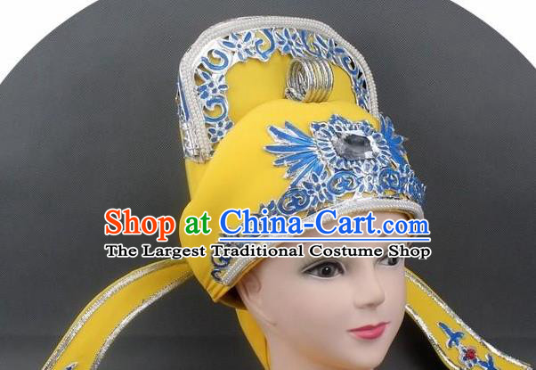 Chinese Ancient Scholar Yellow Hat Traditional Peking Opera Niche Headwear for Men