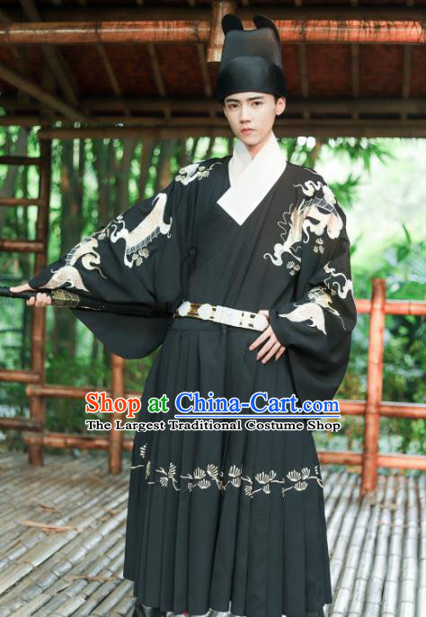 Chinese Ming Dynasty Blades Embroidered Robe Ancient Imperial Guards Costumes for Men