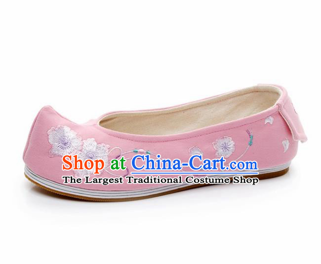 Chinese Ancient Traditional Embroidered Shoes Hanfu Embroidery Peach Flower Pink Cloth Shoes for Women