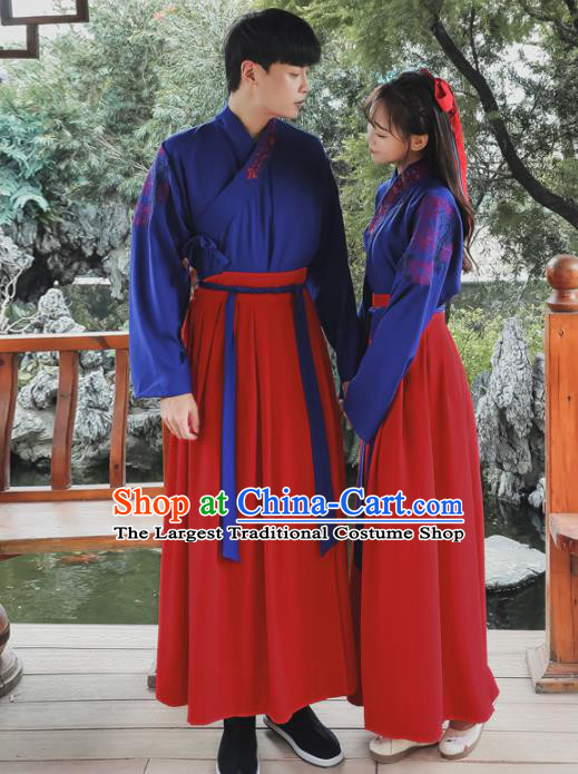 Ancient Chinese Han Dynasty Historical Costumes Swordsman Hanfu Dress for Women for Men
