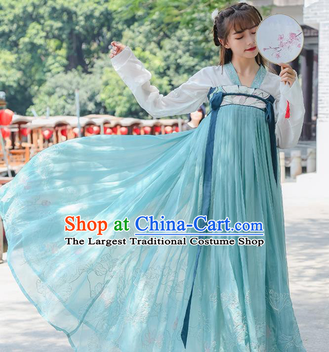 Ancient Chinese Tang Dynasty Princess Historical Costumes Nobility Lady Green Hanfu Dress for Women