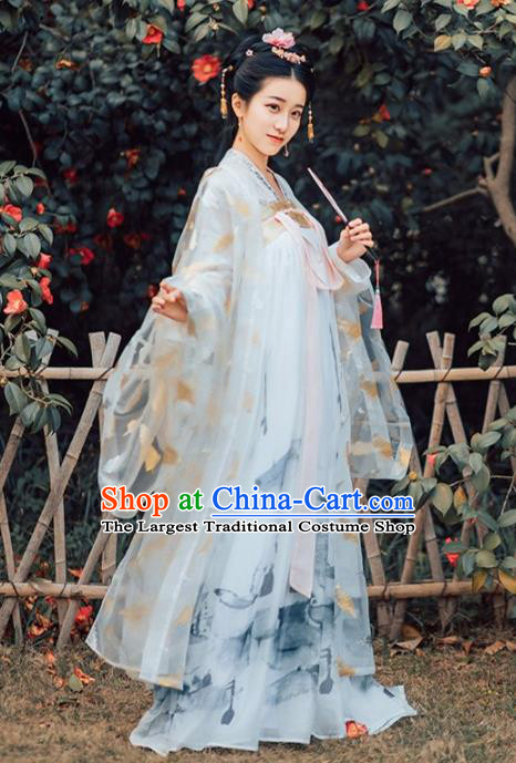 Chinese Traditional Tang Dynasty Imperial Consort Historical Costumes Ancient Peri Embroidered Hanfu Dress for Women
