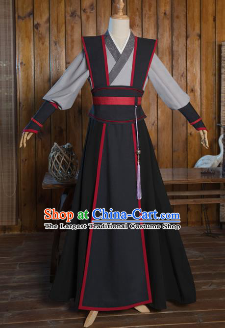 Chinese Traditional Cosplay Nobility Childe Black Costumes Ancient Swordsman Clothing for Men