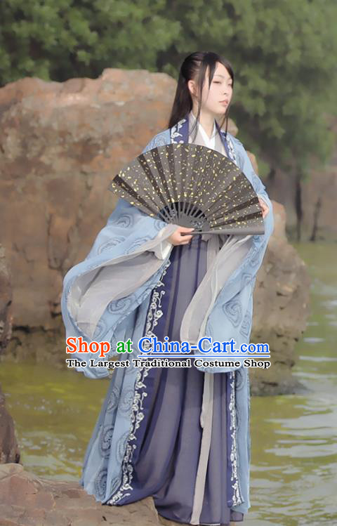 Chinese Ancient Swordswoman Historical Costumes Jin Dynasty Princess Hanfu Dress for Women