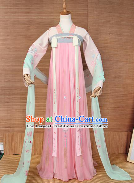 Top Grade Chinese Cosplay Princess Costumes Ancient Tang Dynasty Palace Lady Pink Dress for Women
