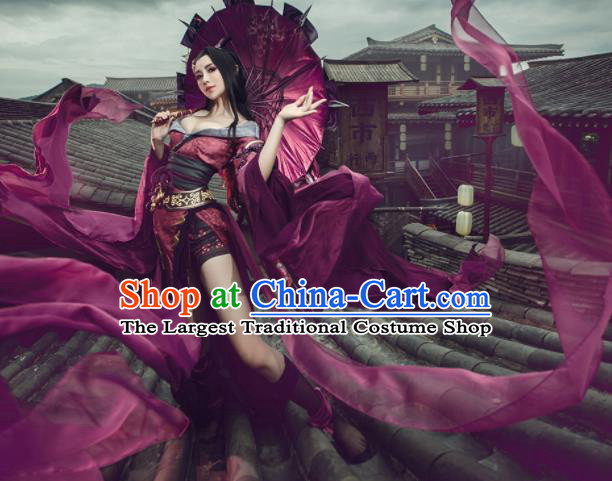 Top Grade Chinese Cosplay Peri Princess Costumes Ancient Swordswoman Purple Dress for Women