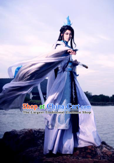Top Grade Chinese Ancient Cosplay Nobility Childe Swordsman Costumes for Men