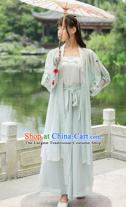 Chinese Ancient Hanfu Dress Song Dynasty Young Lady Embroidered Costumes for Women