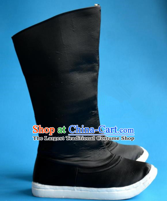 Chinese Traditional Beijing Opera Takefu Shoes Ancient Qing Dynasty Prince Black Boots for Men