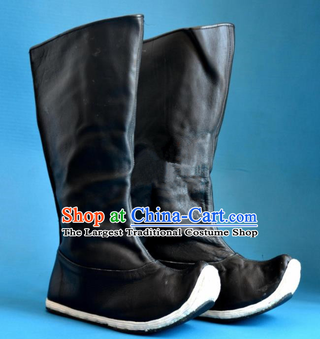 Chinese Traditional Beijing Opera Takefu Shoes Ancient Swordsman Black Leather Boots for Men