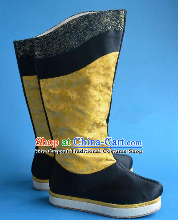 Chinese Traditional Beijing Opera Takefu Shoes Ancient Qing Dynasty Emperor Dragon Boots for Men