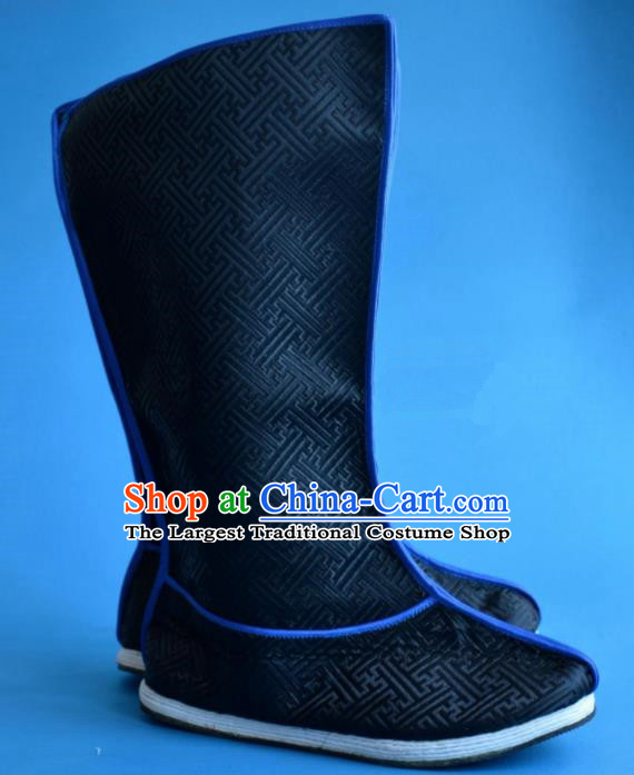 Chinese Traditional Beijing Opera Swordsman Shoes Ancient Qing Dynasty Prince Black Satin Boots for Men