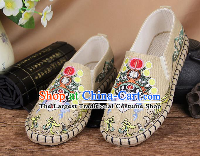 Chinese National Handmade Shoes Traditional Cloth Shoes Embroidery Beige Shoes for Women