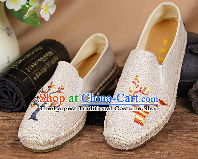Chinese National Handmade Shoes Traditional Cloth Shoes Embroidery Deer White Shoes for Women