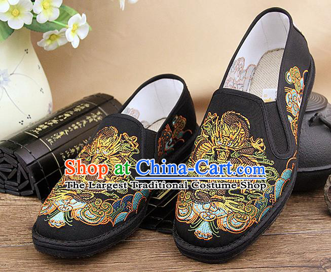 Chinese National Shoes Traditional Black Cloth Shoes Embroidery Dragon Shoes for Men