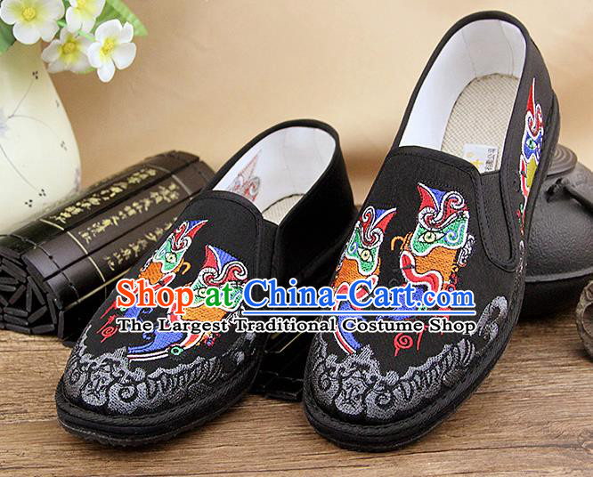 Chinese National Shoes Traditional Black Cloth Shoes Embroidery Shoes for Men