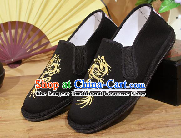 Chinese National Shoes Traditional Embroidery Dragon Martial Arts Cloth Shoes Black Shoes for Men