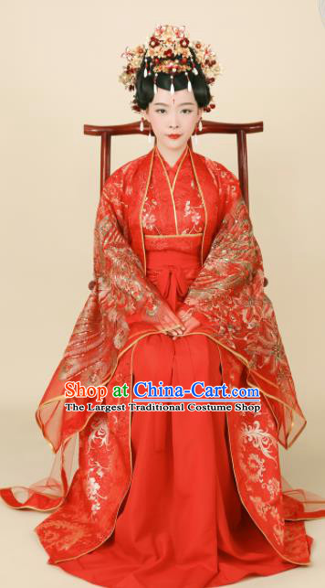 Chinese Ancient Bride Red Hanfu Dress Ming Dynasty Empress Embroidered Wedding Historical Costumes and Headpiece Complete Set