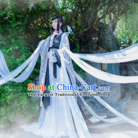 Chinese Ancient Swordswoman Hanfu Dress Jin Dynasty Princess Embroidered Historical Costumes for Women