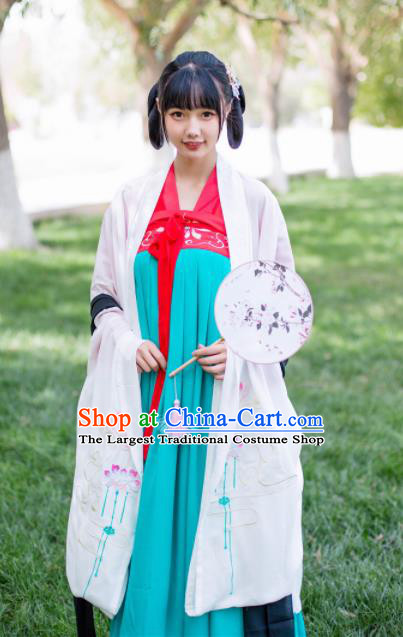 Chinese Ancient Tang Dynasty Princess Embroidered Historical Costumes for Women