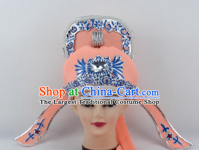 Chinese Traditional Peking Opera Niche Hats Ancient Scholar Orange Hat for Men