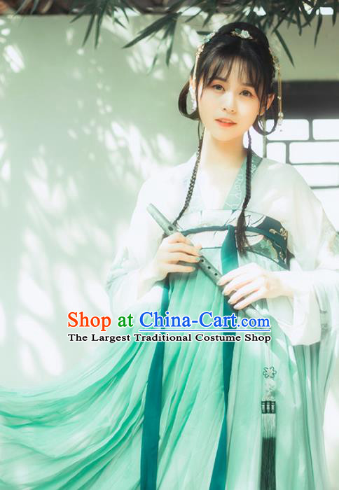 Chinese Ancient Tang Dynasty Palace Lady Green Hanfu Dress Traditional Embroidered Costumes for Women