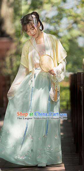 Chinese Ancient Song Dynasty Young Lady Hanfu Dress Traditional Embroidered Costumes for Women