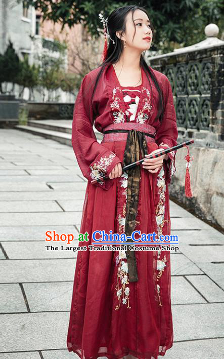 Chinese Ancient Tang Dynasty Nobility Lady Red Hanfu Dress Traditional Embroidered Costumes for Women