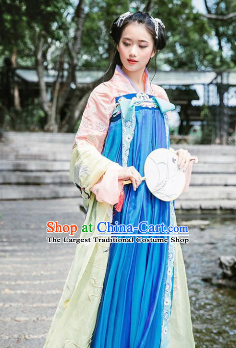 Chinese Ancient Tang Dynasty Princess Hanfu Dress Traditional Embroidered Costumes for Women