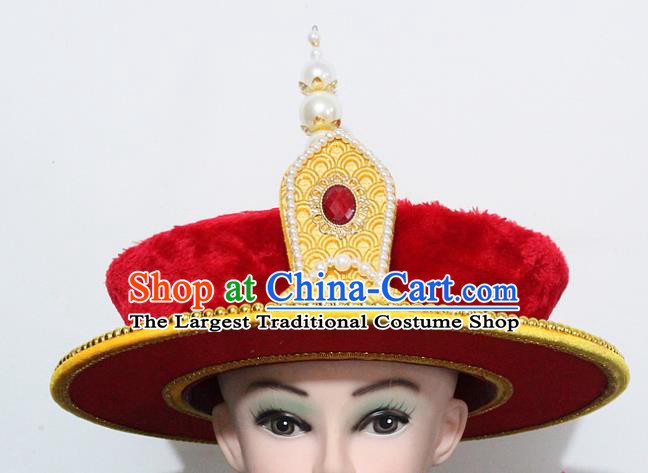 Chinese Traditional Peking Opera Hat Ancient Qing Dynasty Emperor Hat for Men