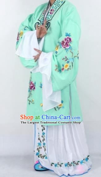Chinese Traditional Peking Opera Actress Costumes Ancient Nobility Lady Light Green Cloak for Women