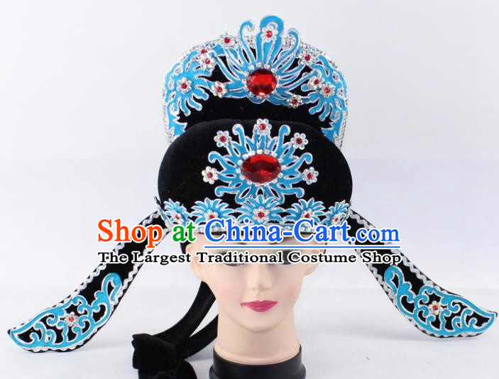 Chinese Traditional Peking Opera Niche Headwear Ancient Number One Scholar Black Hat for Men