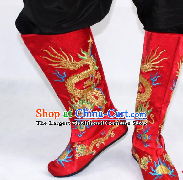 Chinese Traditional Beijing Opera Takefu Shoes Ancient Handmade Emperor Embroidered Dragons Red Boots for Men