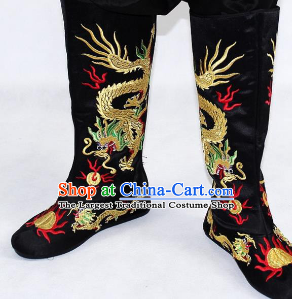Chinese Traditional Beijing Opera Takefu Shoes Ancient Handmade Emperor Embroidered Dragons Black Boots for Men
